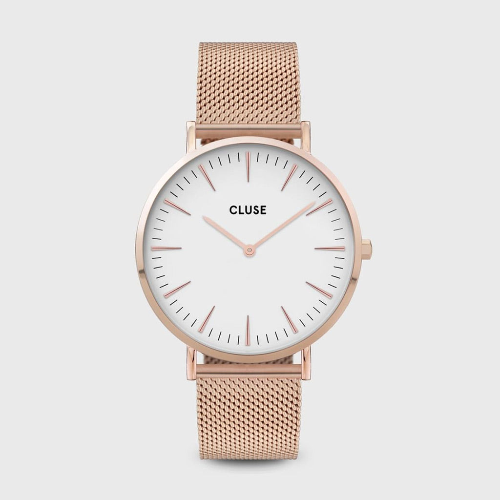 Cluse Boho Chic Mesh White & Rose Gold Watch