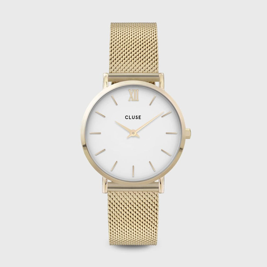 Cluse Minuit Mesh White & Gold Watch