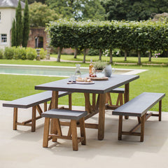Devon Large Cement Fibre Top Dining Table & Bench Set
