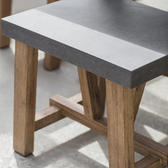 Devon Small Cement Fibre Top Dining Table & Bench Set