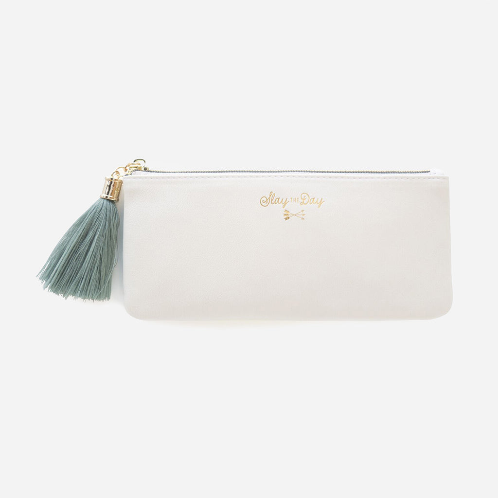 Slay The Day Vegan Leather Tassel Pencil Pouch