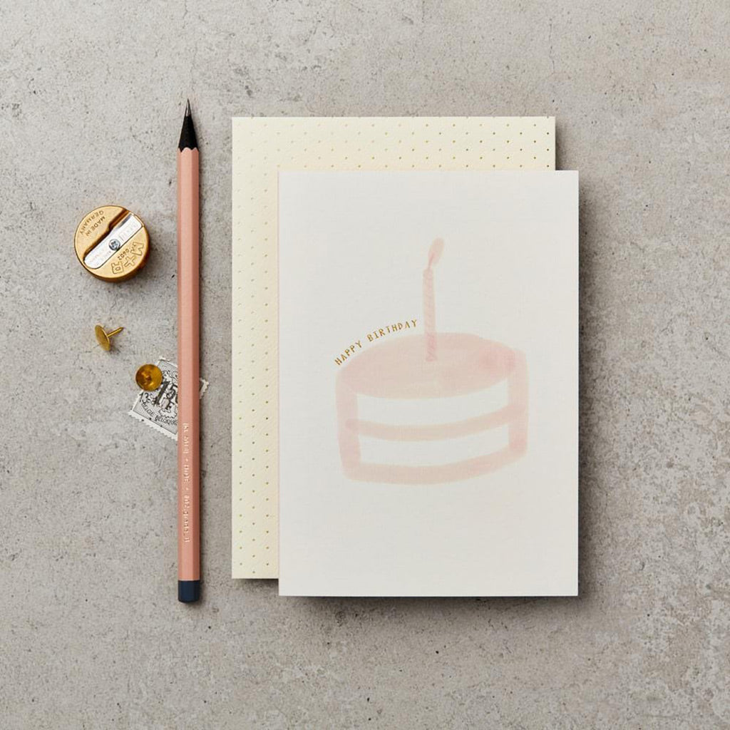 Katie Leamon Pink Birthday Cake Card