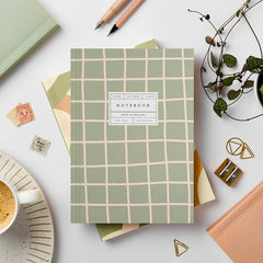 Katie Leamon Green Grid Lay Flat Notebook