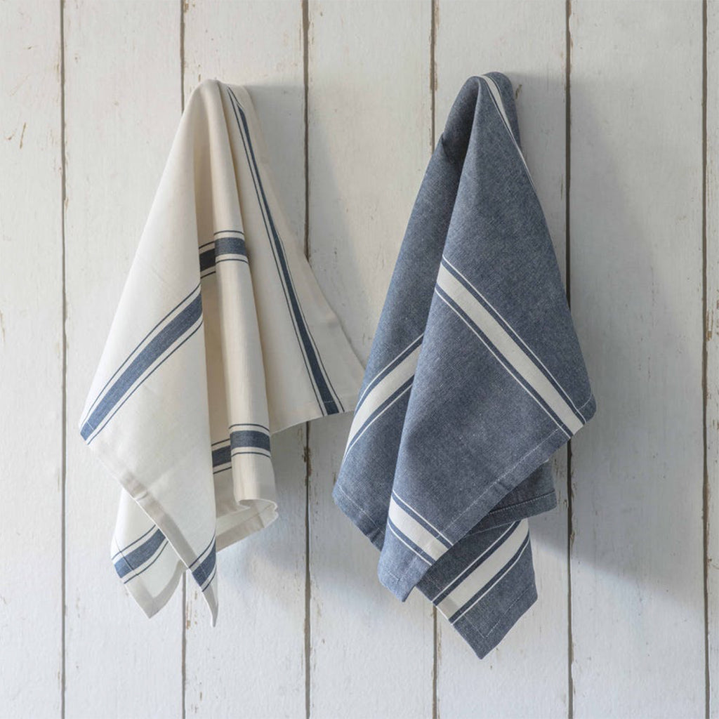 Ink Stripe Cotton Tea Towels - Set Of 2