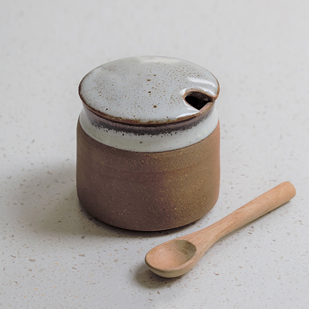 Tawny Stoneware Sugar Pot With Spoon