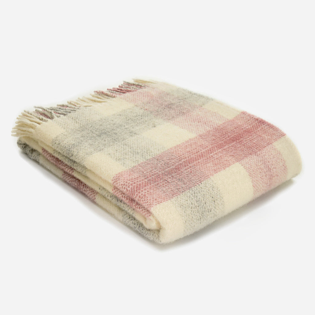 Dusty Pink Meadow Check Throw