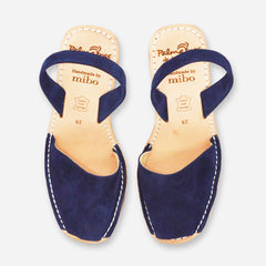 Palmaira Navy Suede Cork Wedge Sandals