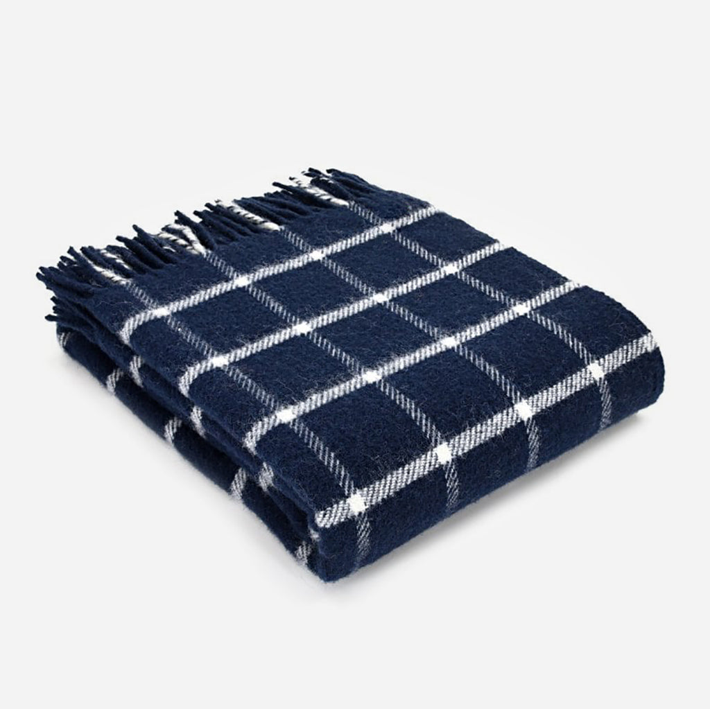 Navy Blue Chequered Check Throw