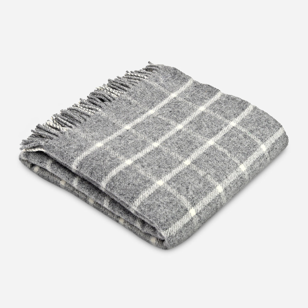 Grey Chequered Check Wool Throw
