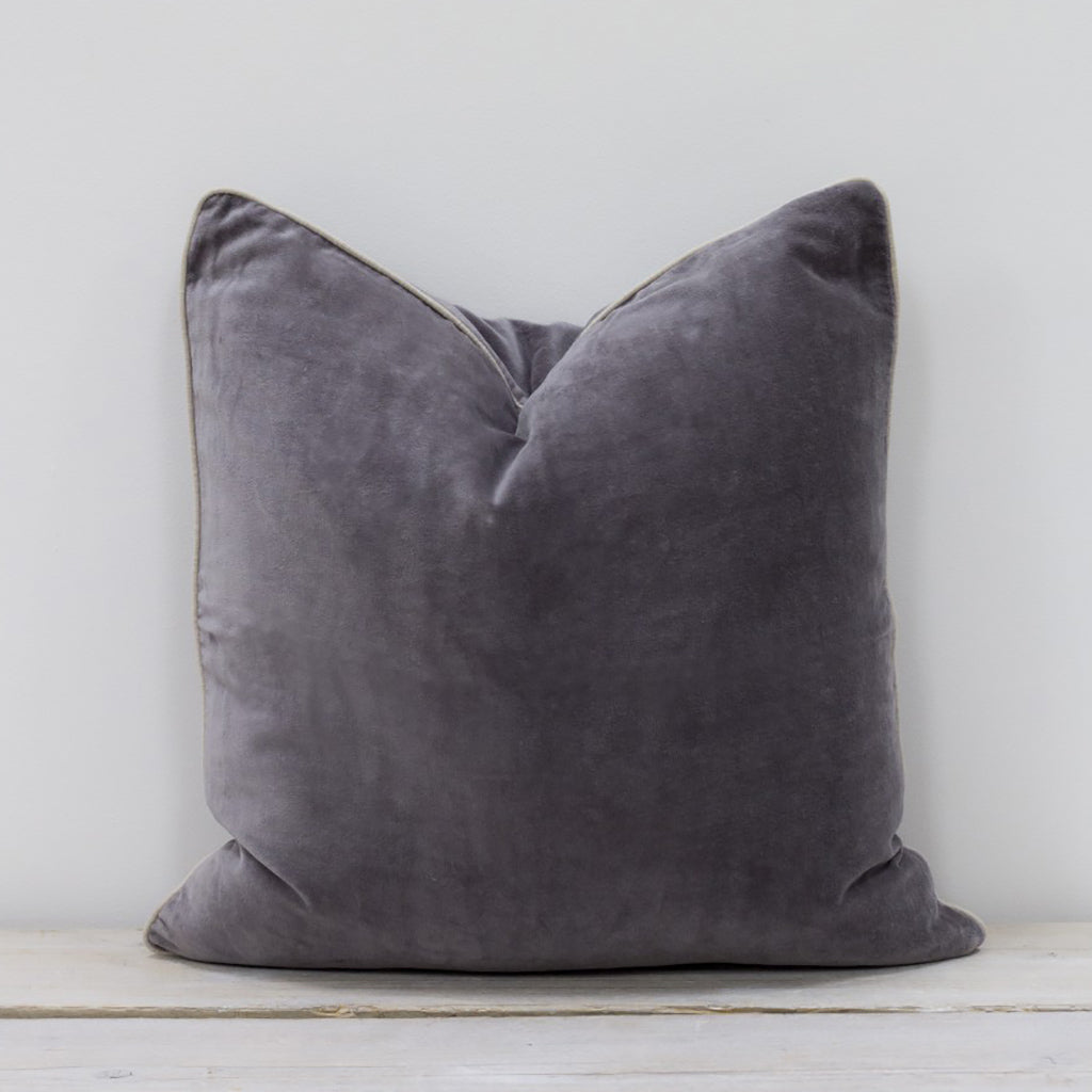 Unari Pewter Grey Velvet Cushion