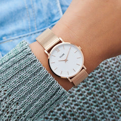 Cluse Minuit Mesh White & Rose Gold Watch