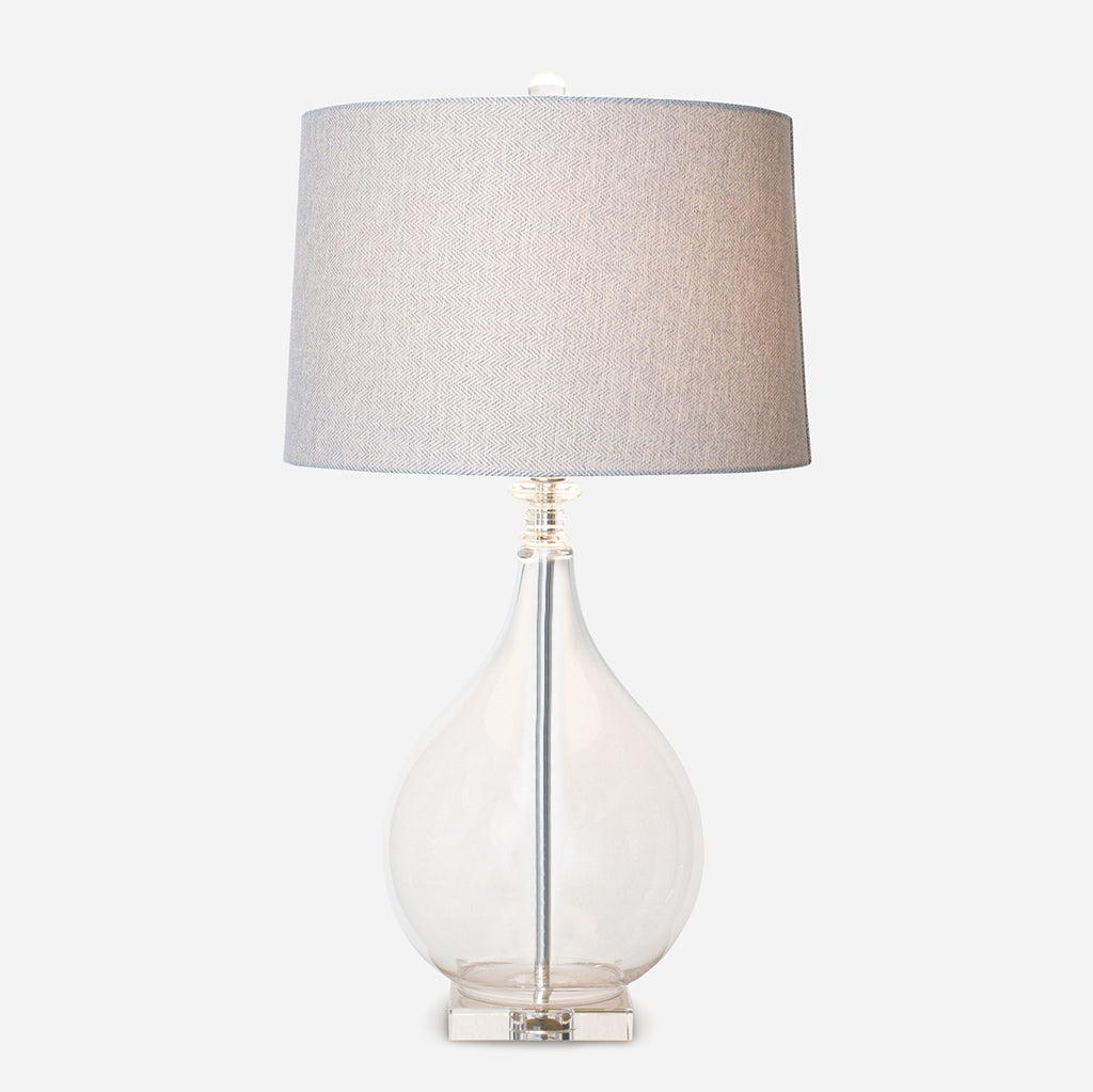 Glass Crystal Shaped Lamp With Beige Shade