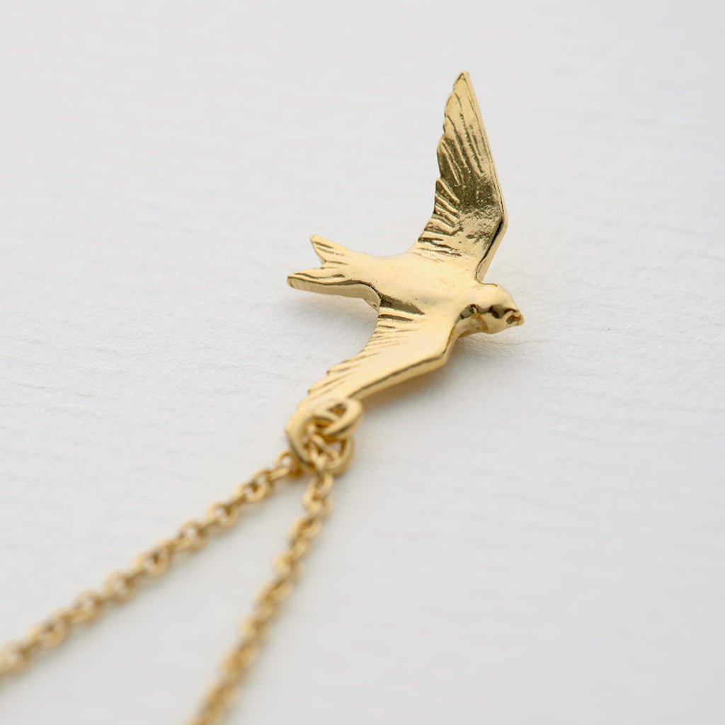 Alex Monroe Gold Plate Flying Swallow Necklace