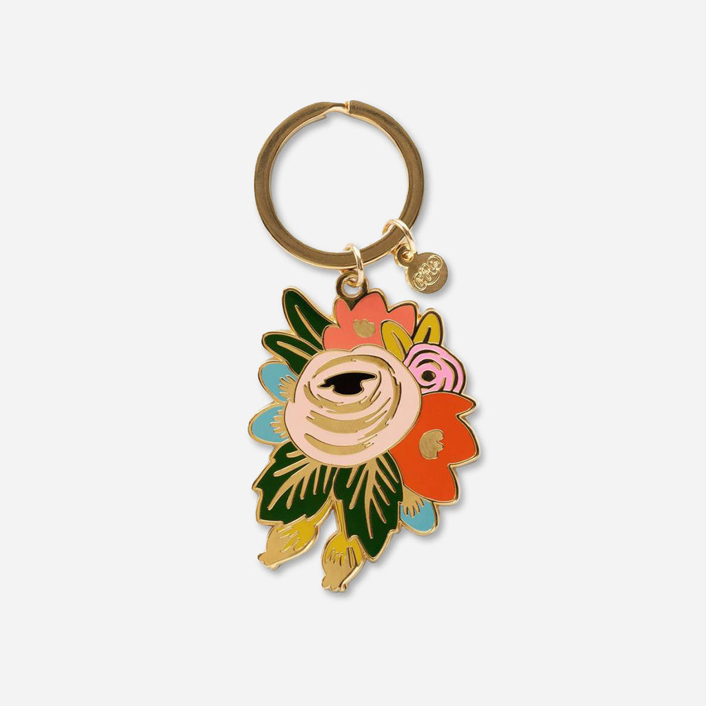 Rifle Paper Co. Rosa Floral Enamel Keychain