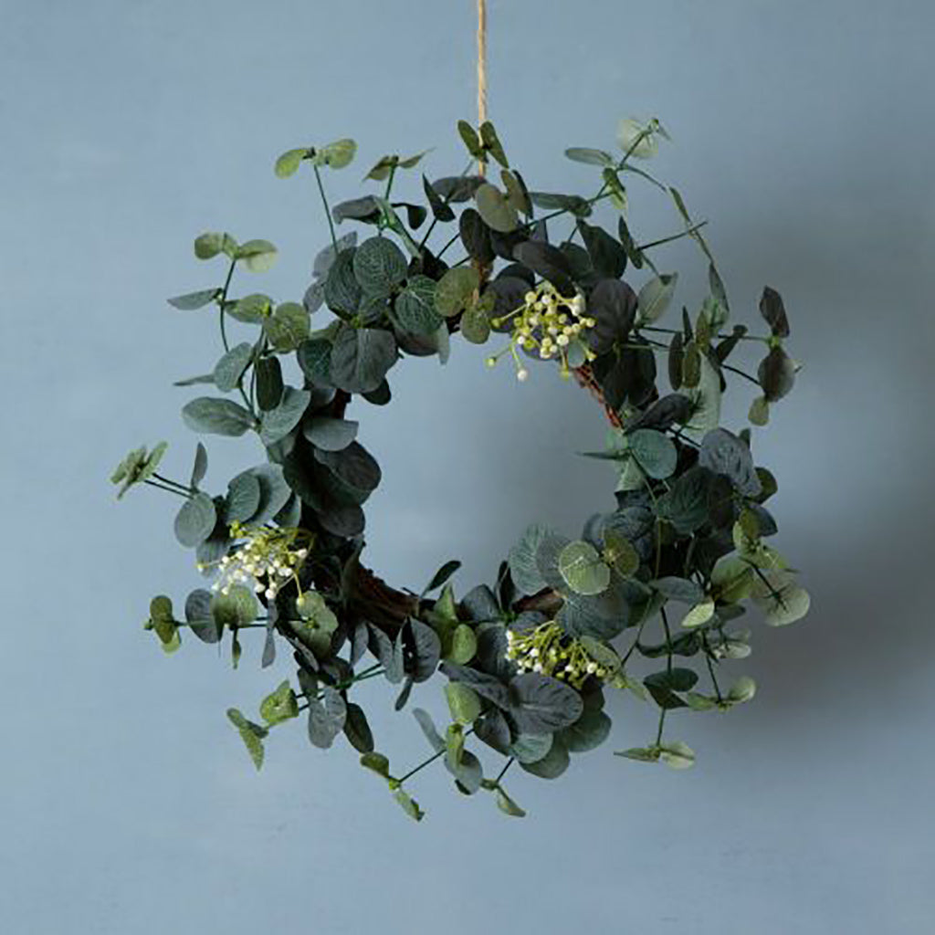 Eucalyptus & White Flower Table Wreath Christmas Decoration