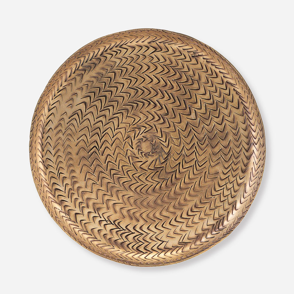 House Doctor Large Rattan Brass Finish Tray