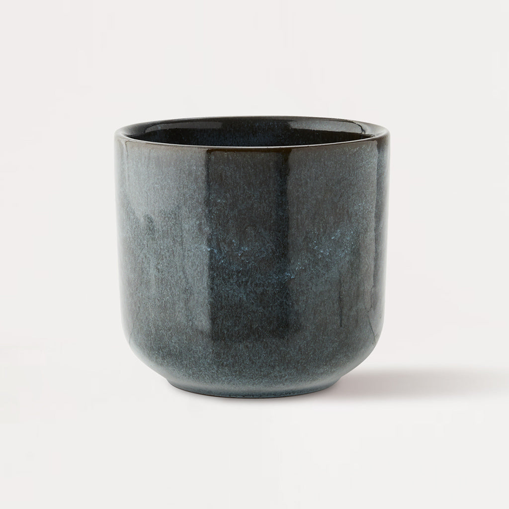 Blue Brown Handleless Stoneware Cup