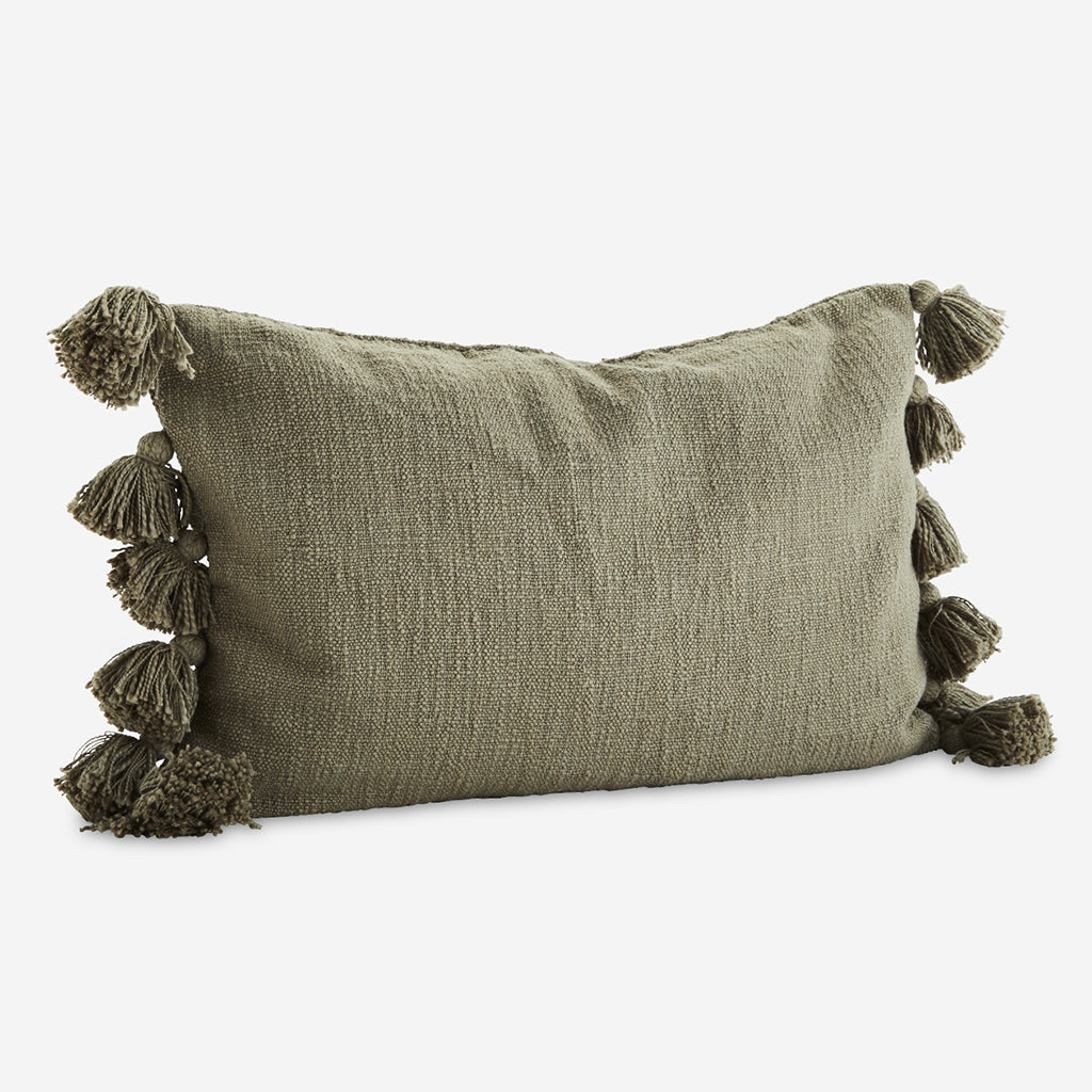 Olive Green Cushion With Tassels