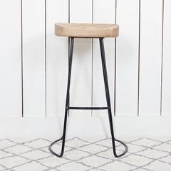 Coach House Weathered Oak & Metal Bar Stool -  Shop our beautiful furniture and homeware range online or in store at Jo & Co Home, Cornwall, UK