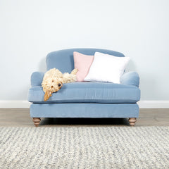 Premium Bespoke, Super comfortable Frankie Blue Sofa - Available in Velvet, Cotton Or Linen as a snuggler love seat, two or three seater in a wide variety of colours. Order online for home delivery, or buy in store from the Jo & Co Furniture showroom shop in Wadebridge, North Cornwall, UK