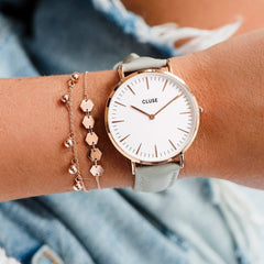 Cluse Boho Chic Leather Grey & Rose Gold Watch