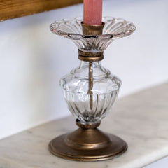 Carmen Antique Gold & Glass Candlestick