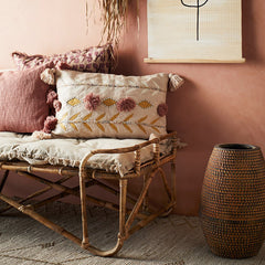 Rose Pink Cushion With Tassels