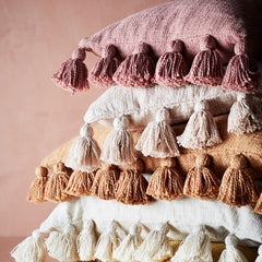Powder Pink Cushion With Tassels