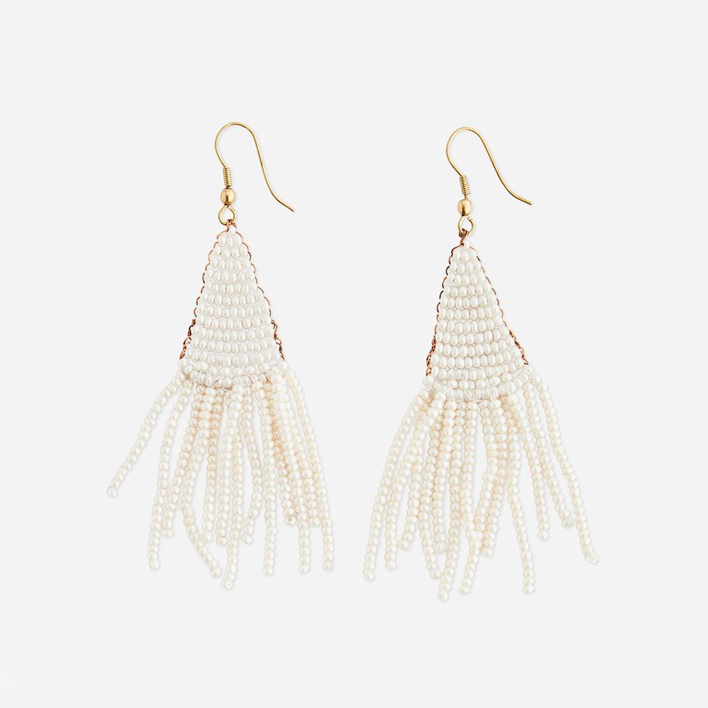 White Beaded Tassel Earrings - Buy online or shop in the Jo & Co Lifestyle, Home and Furniture store in Wadebridge, North Cornwall, UK