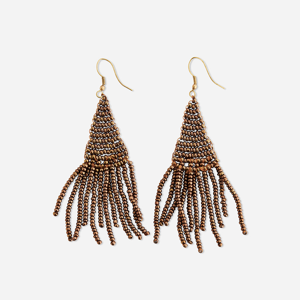 Copper Beaded Tassel Earrings - Buy online or shop in the Jo & Co Lifestyle, Home and Furniture store in Wadebridge, North Cornwall, UK