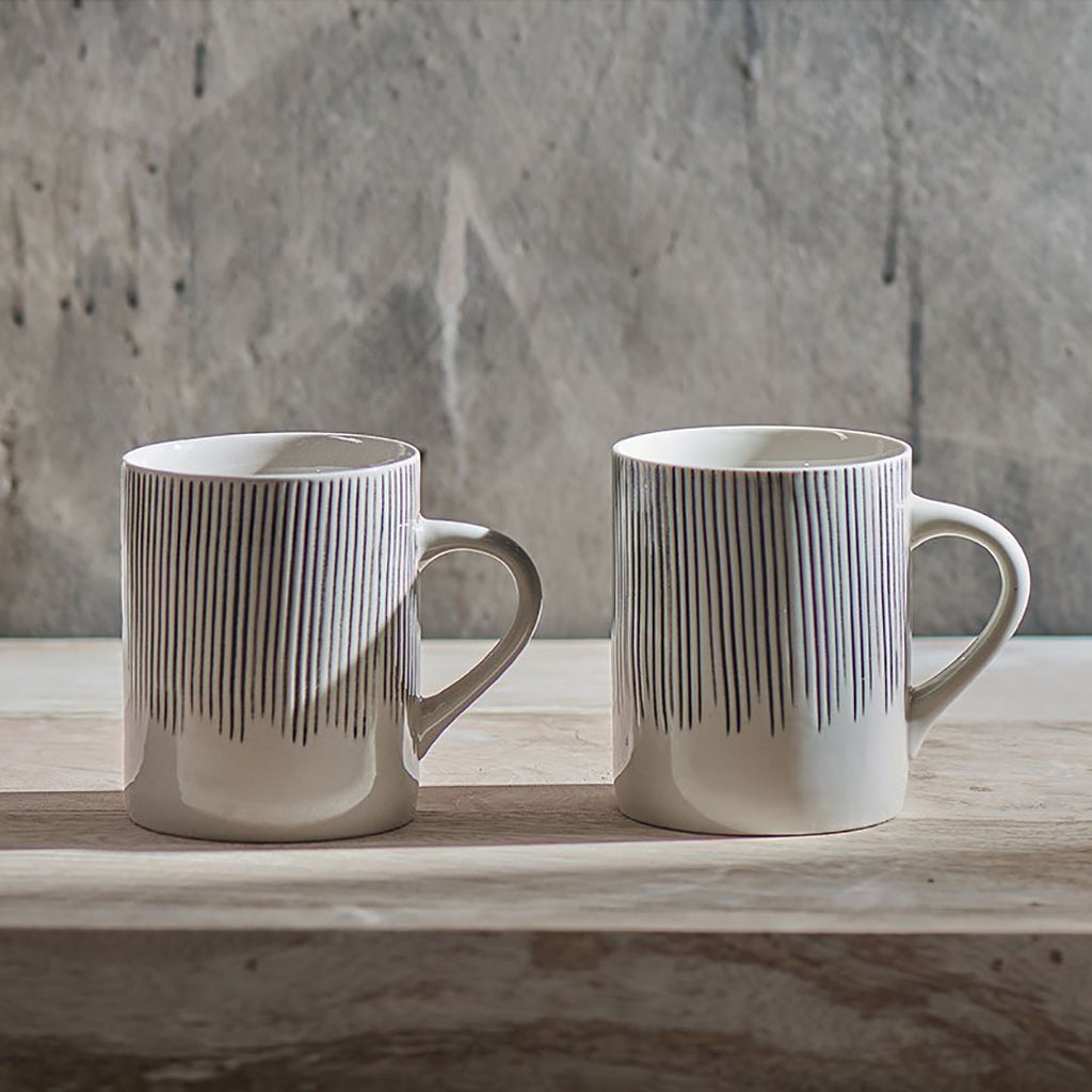 Black & White Stripe Tall Ceramic Mug