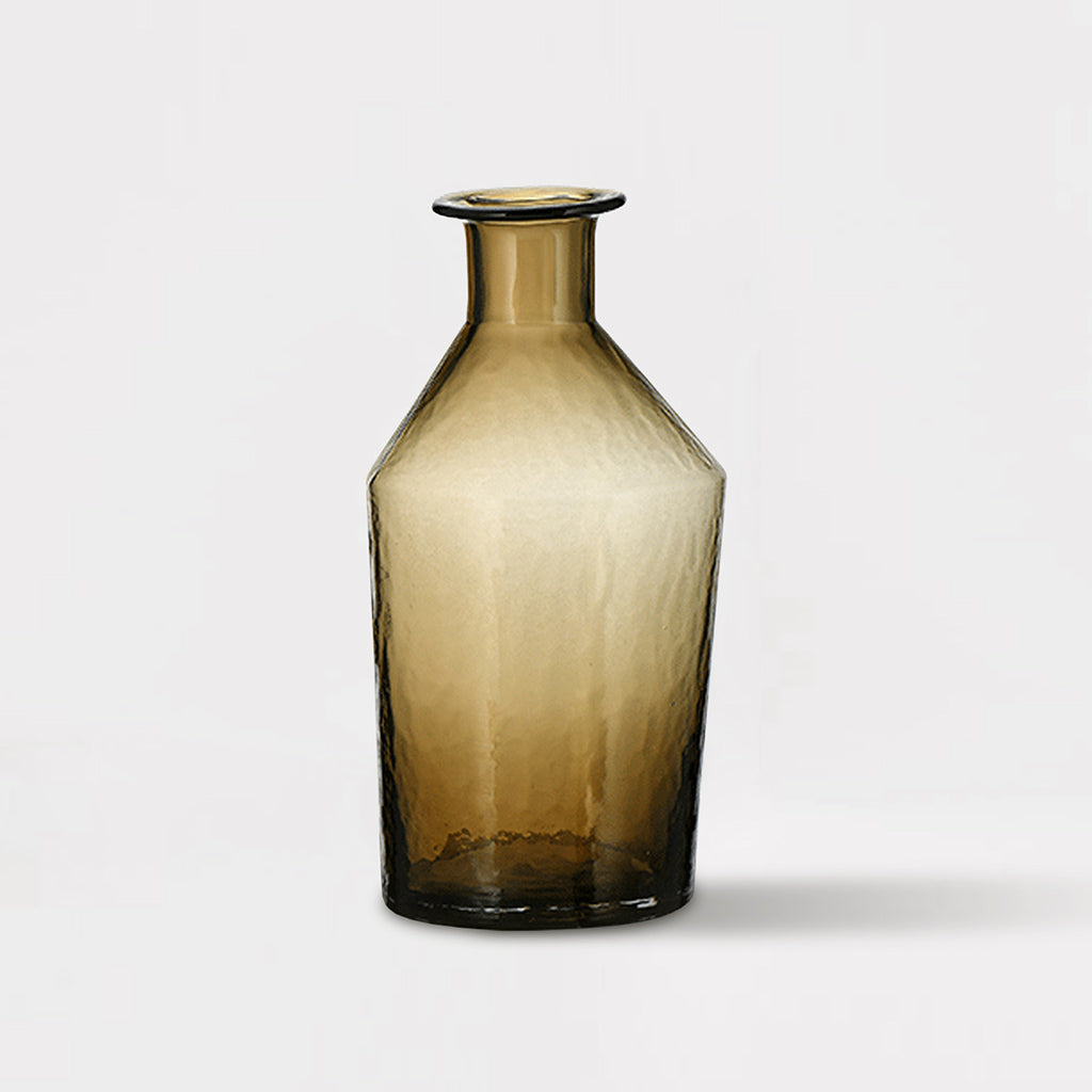 Medium Coffee Brown Glass Vase
