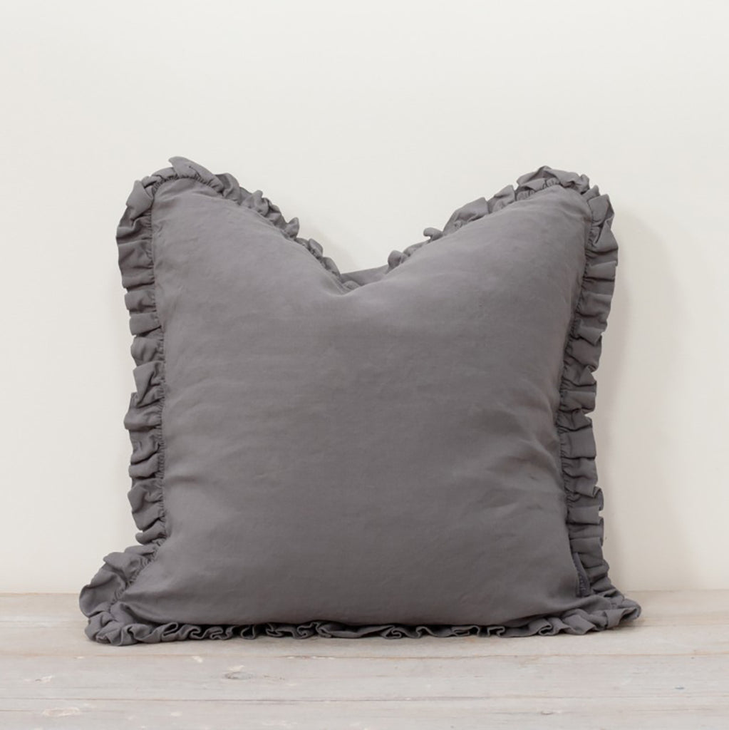 Oli Ruffle Pewter Grey Cushion - Buy online or shop in the Jo & Co Lifestyle, Home and Furniture store in Wadebridge, North Cornwall, UK