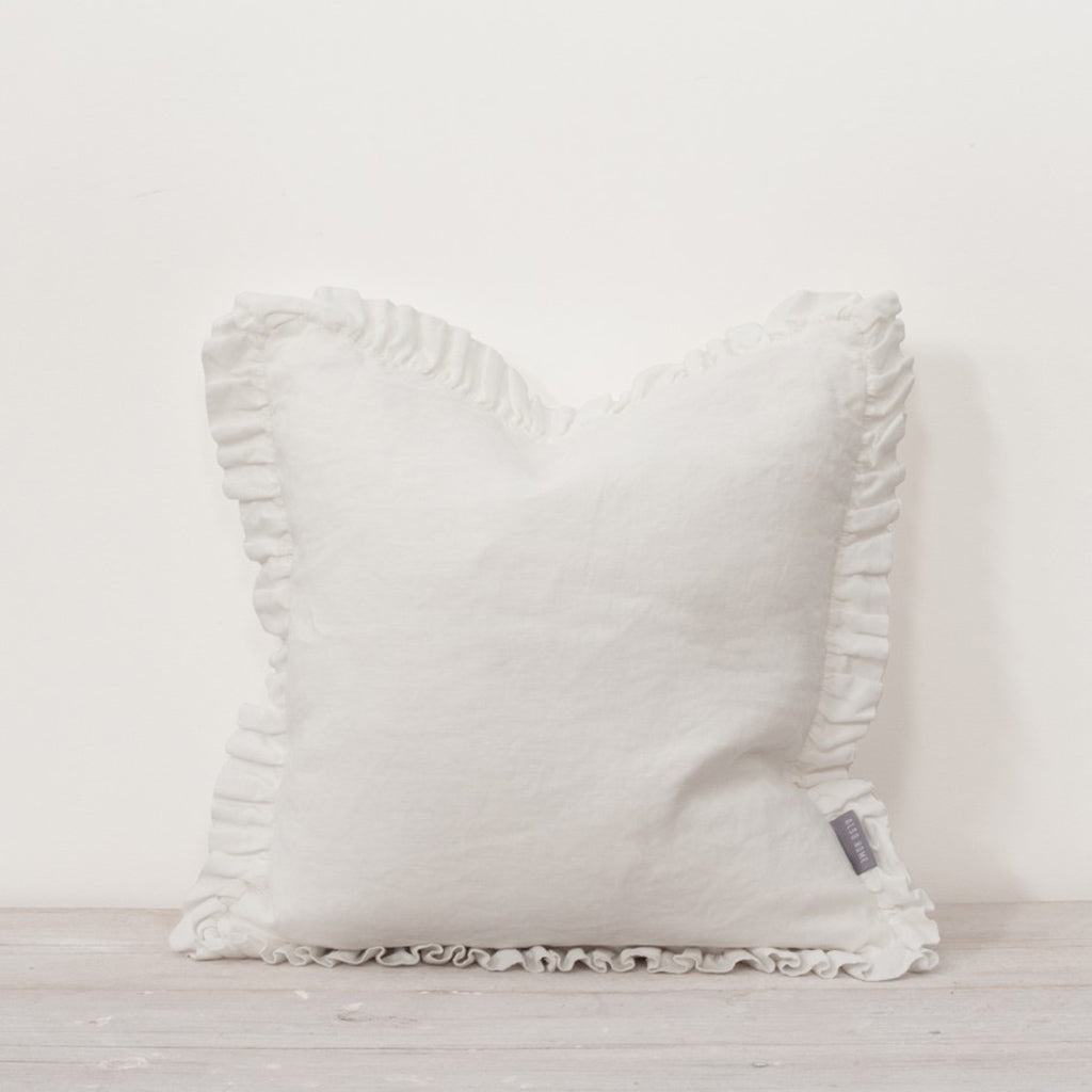 Oli Ruffle White Cushion