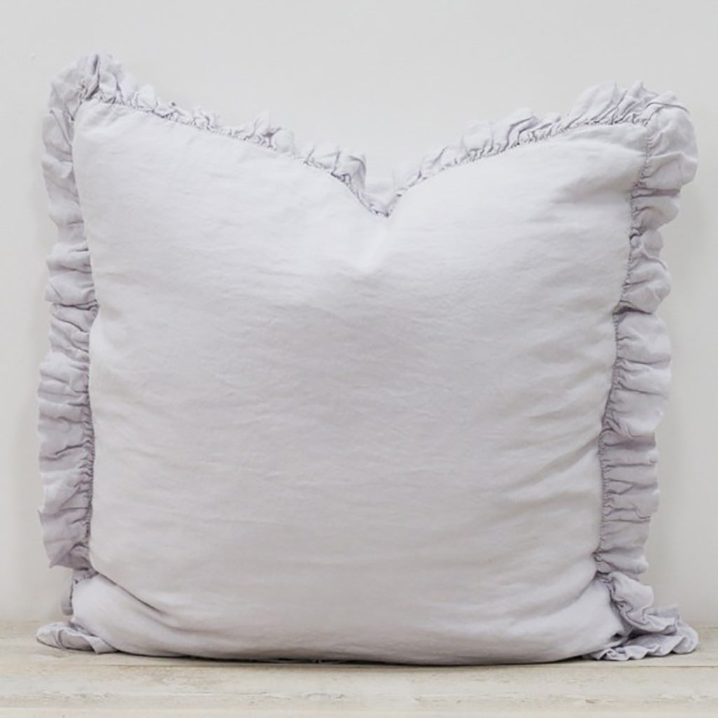 Silver Grey Olivia Ruffle Pillow