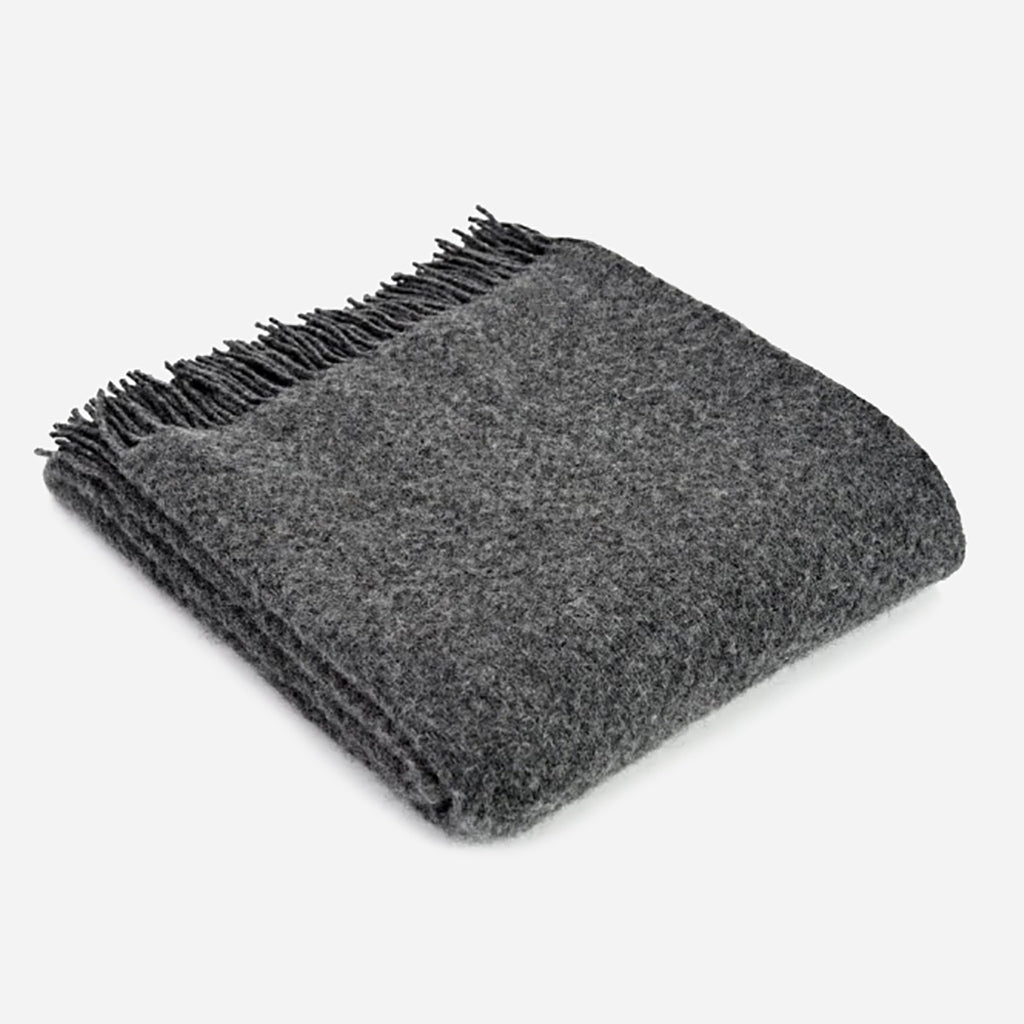 Tweedmill Pure New Wool Wafer Throw Blanket in Slate Grey - Buy online or shop in store at Jo & Co Home, Wadebridge, North Cornwall, UK