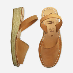 Palmaira Tan Nubuck Low Wedge Sandals