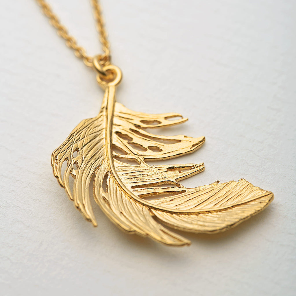 Alex Monroe Gold Plate Big Feather Necklace