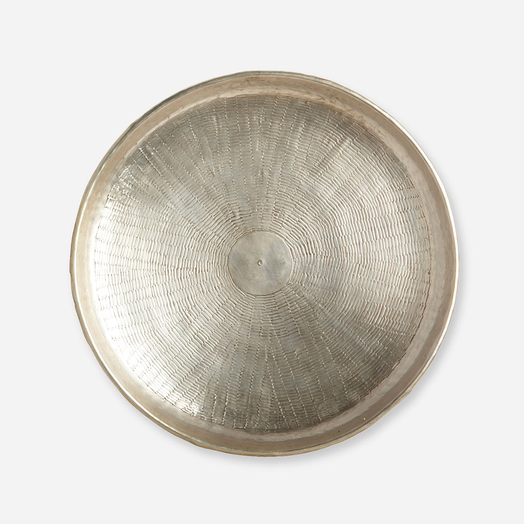 Large Round Brass Carved Tray - Buy online or shop in the Jo & Co Lifestyle, Home and Furniture store in Wadebridge, North Cornwall, UK