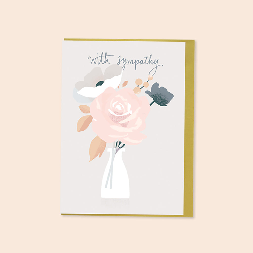 With Sympathy Flower Vase Card