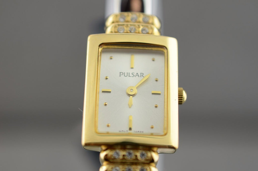 Pulsar Ladies Two Toned Bangle Swarovski Crystal Watch 30m WR