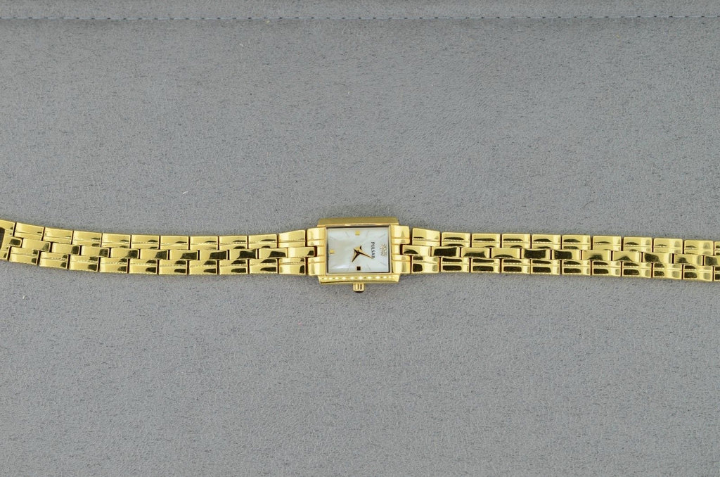 Pulsar Gold Toned Mother of Pearl Dial Ladies Watch