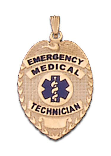 14K Yellow Gold EMT Shield Charm