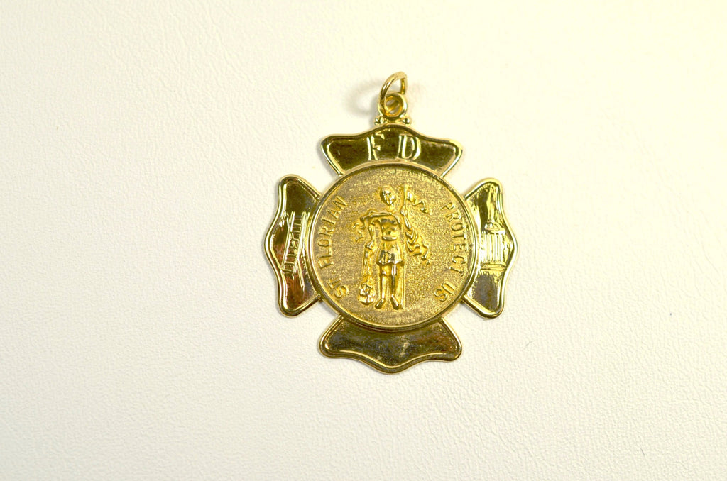 Sterling Silver or 14K Gold Polished Maltese Cross with St. Florian <br>20011</br>