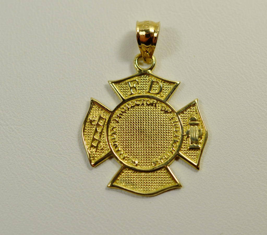 gold necklace firefighter goldffnecklace with cross maltese finish pendant products chain rescue