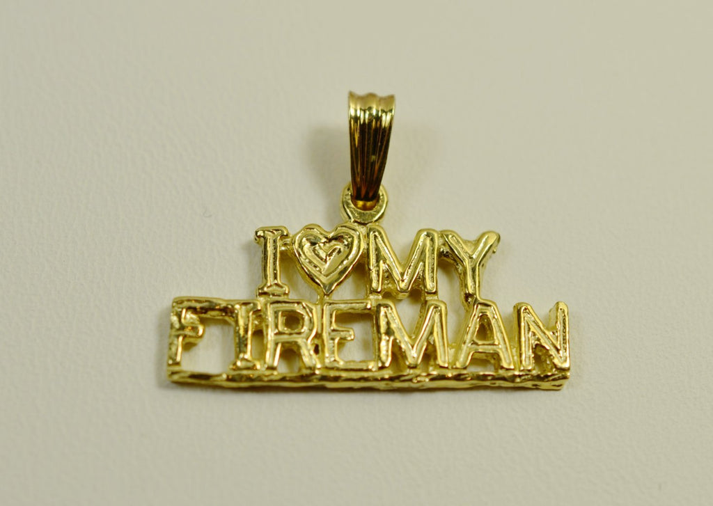 14K Yellow Gold I Love My Fireman <br>1521</br>