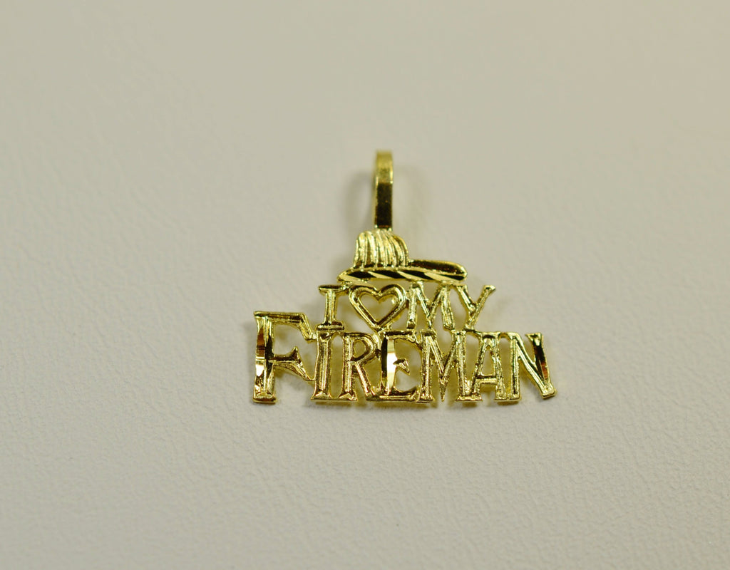 14K Yellow Gold I Love My Fireman with Hat <br>1525</br>