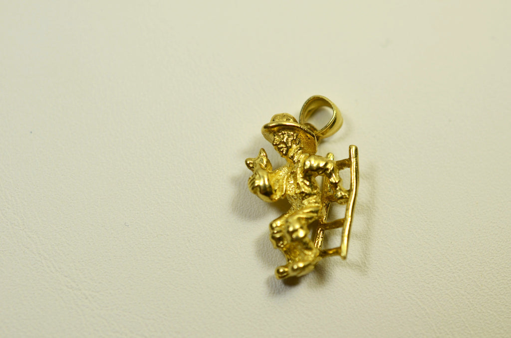 14K Yellow Gold Firefighter On Ladder <br>1532</br>