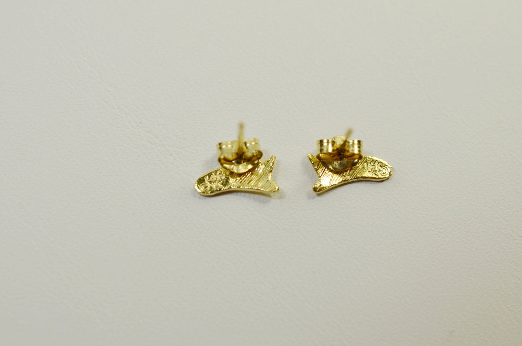 14K Yellow Gold Firehat Earrings <br> 1602 </br>