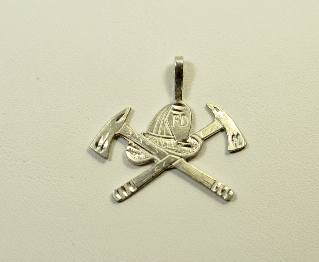 Sterling Silver Crossed Axes with Hat Charm <br>061202</br>